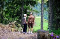 two people standing in forest