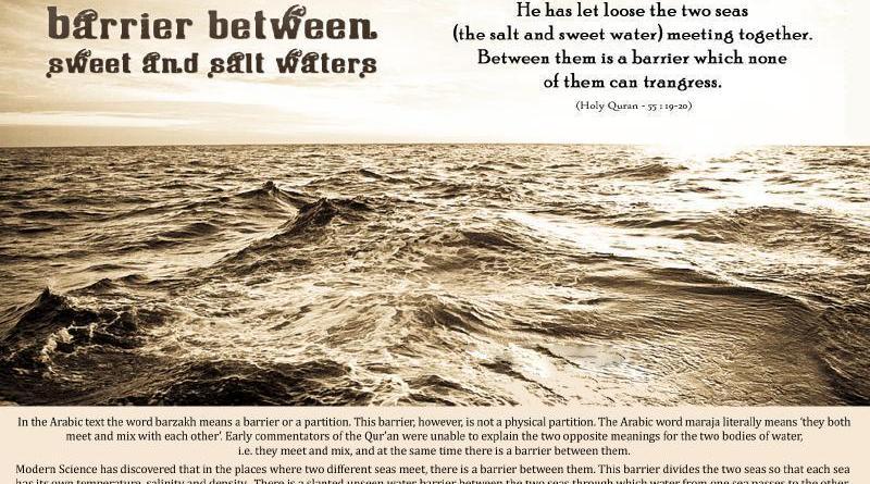 Barrier between Sweet and Salt Waters