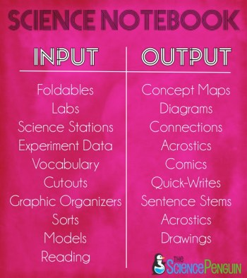 Science Notebook Input
