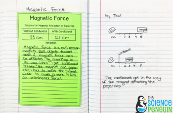 Force and Motion Science Notebook Photos: testing magnetic force