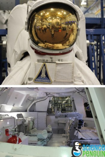 Spacesuit and the Orion mockup