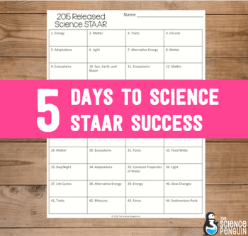 5 Days to Science STAAR Success-- teacher tools, ideas, resources, and great information in your email each day for 5 days