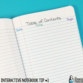 Interactive Science Notebook Tips: Table of Contents