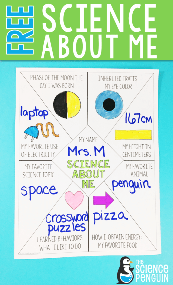 Science About Me! First week activity for 4th and 5th grade science