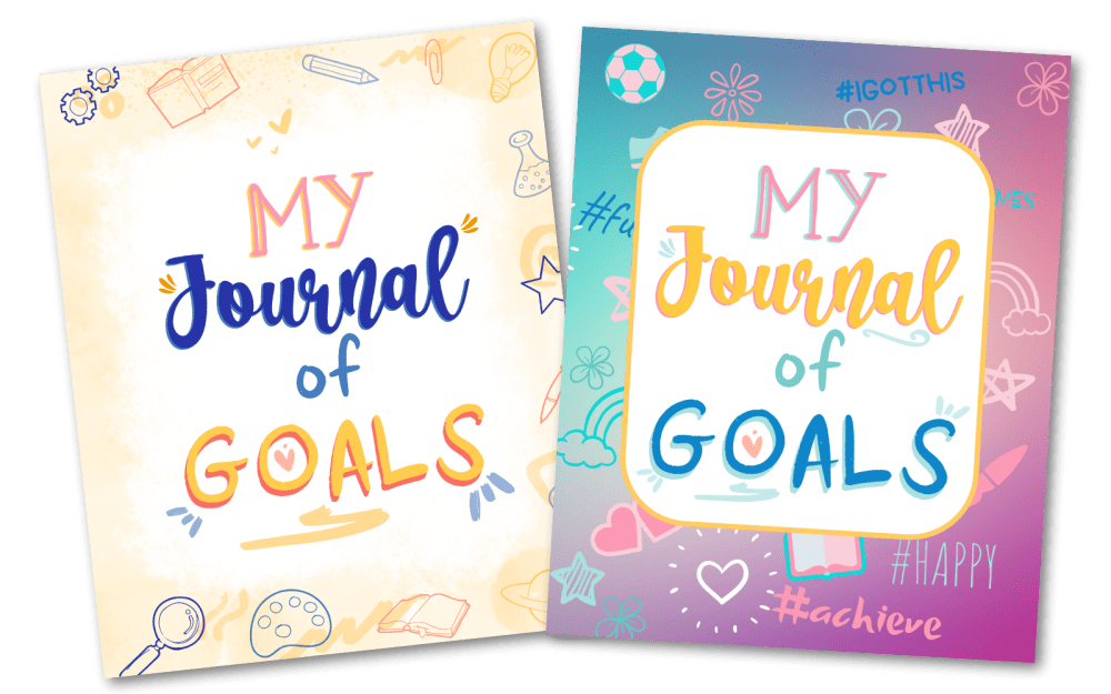 """Learning to set goals and achieve them is a valuable life skill. The growth mindset workbook """"Mu Journal of Goals"""" is a guided log that helps kids track their goals and visualize them."""