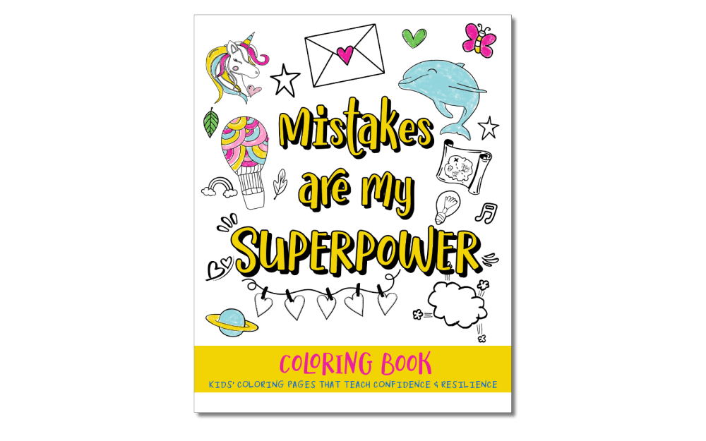 Mistakes Are My Superpower is a coloring book that shows kids that making mistakes is a good thing and that mistakes are a natural part of the learning process. Rather than avoiding mistakes, kids should learn from them. The book teaches self-confidence and resilience.