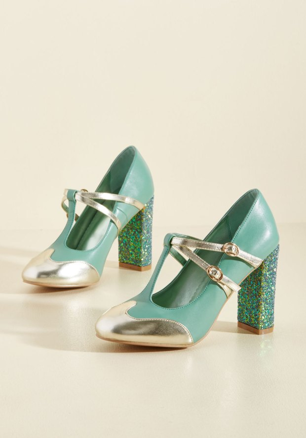 Teal pumps with silver toes and glitter heels