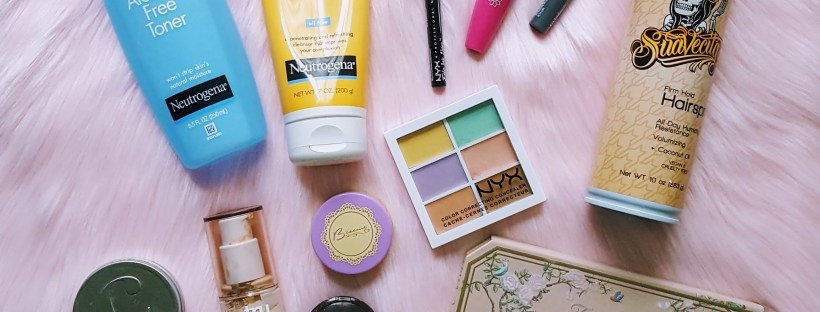 Flat lay of makeup and beauty products