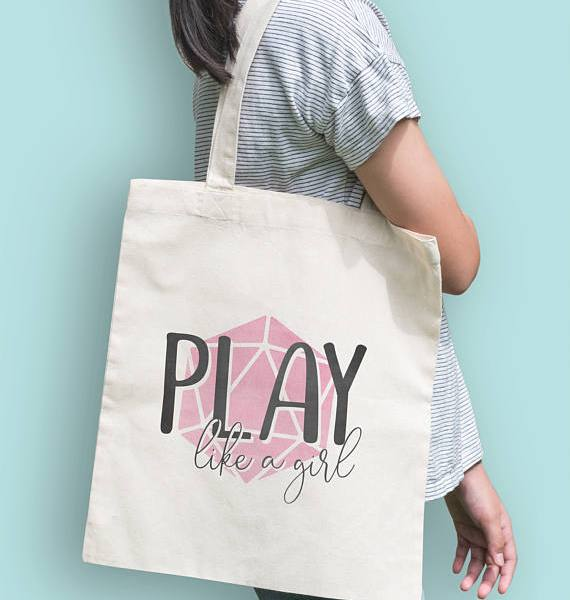 Play like a girl nerdy totebag