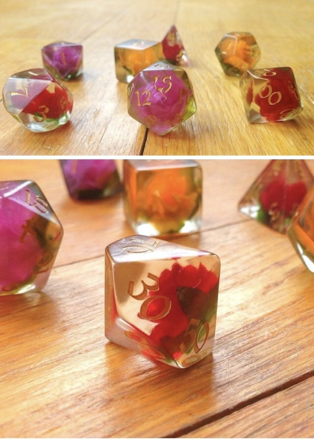 Roleplaying dice set with roses