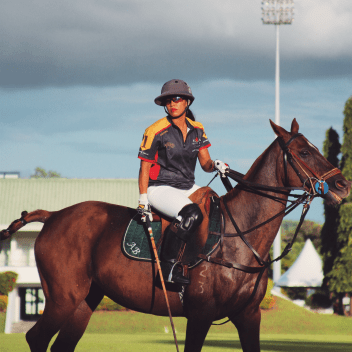 HRH Princess 'Azemah competing in the Golden Jubilee polo tournament in Jerudong. Photo: Ubaidillah Masli