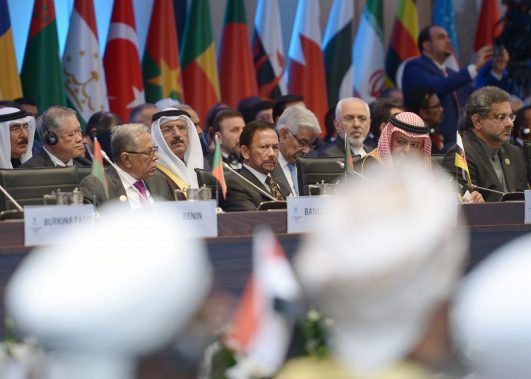 HM the Sultan of Brunei (front row, 2L) joins leaders and representatives from the OIC to discuss the status of Jerusalem at an emergency OIC summit Istanbul, Turkey, on Dec 13. Photo: Infofoto