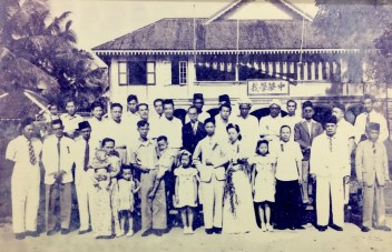 The Laus' wedding ceremony at the Chung Hwa School in 1949. Photo: Courtesy of the Lau Family