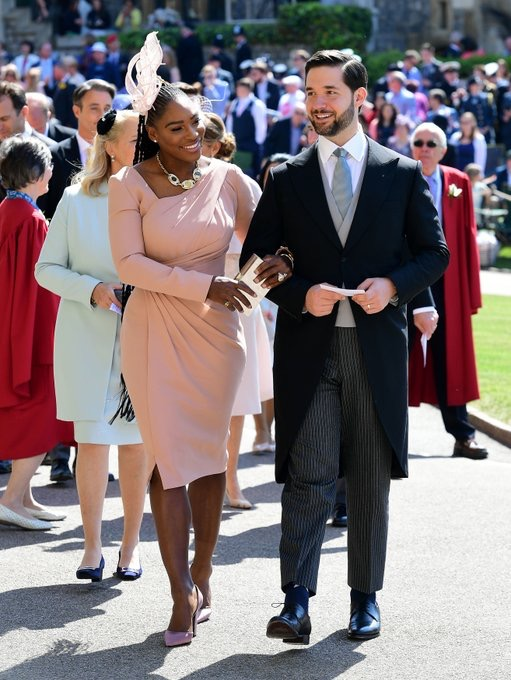 Tennis great Serena Williams arrives at St George's Chapel. Photo via Twitter