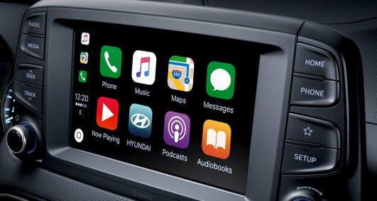 """The Hyundai Kona's 8"""" touch screen display makes everything easily accessible with Apple CarPlay™ and Android Auto™. Photo: Hyundai Brunei"""