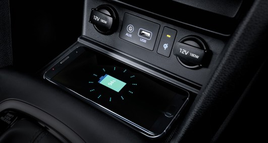 Located in the center console, a wireless charging pad (Qi standard) lets you easily charge a compatible Qi-enabled smartphone without the use of messy and unsightly cables. Photo: Hyundai Brunei