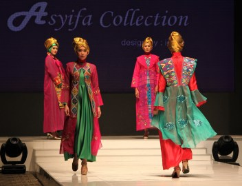 Designer Lesye Asyifa was inspired by Korean traditional hanbok which she combined with Indonesian woven fabric. Photo: Rasidah Hj Abu Bakar/The Scoop