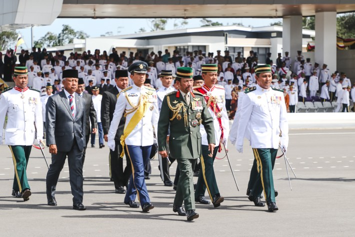 HM the Sultan accompanied by HRH Prince 'Abdul Mateen and senior defence officials during the 17th Sovereign's Parade at the RBAF Defence Academy on January 17, 2019. Photo: Hazimul Harun/The Scoop