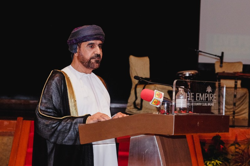 His Excellency Sheikh Ahmed Bin Hashil Al Maskari, Ambassador of the Sultanate of Oman to Brunei Darussalam giving his welcoming remarks at the Omani Cultural Night. Feb 28, 2019. Photo: Hazimul Wa'ie/The Scoop