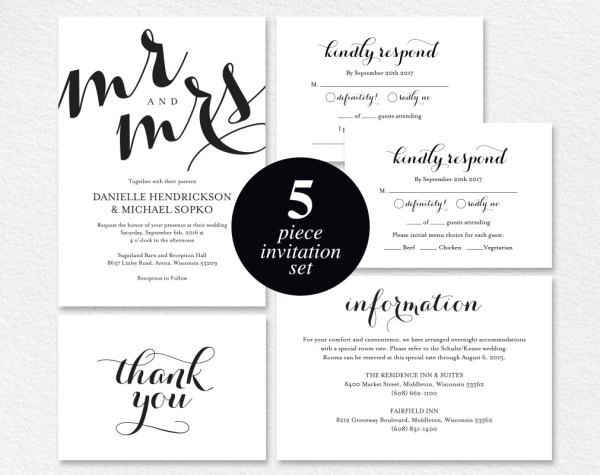 Bold Mr and Mrs Etsy Wedding Invitation