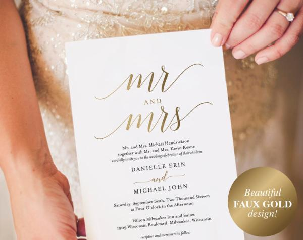 Gold Etsy Wedding Invitation