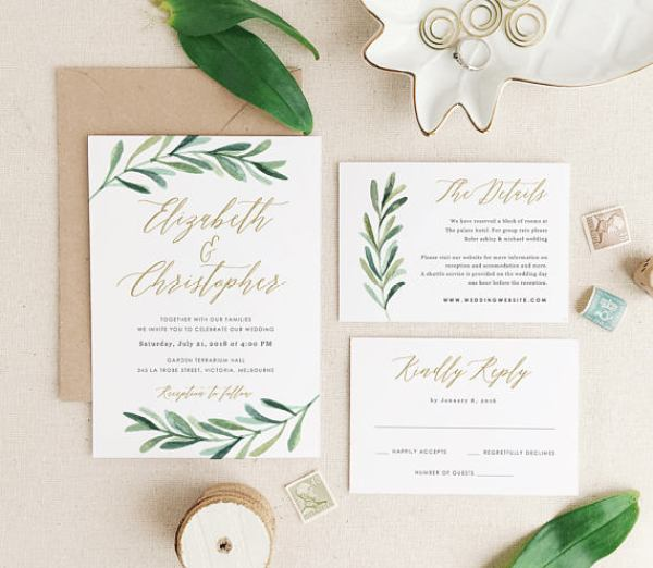 Greenery Etsy Wedding Invitations