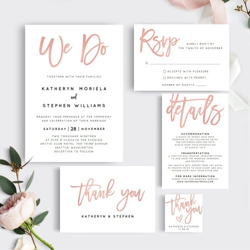 We Do Etsy Wedding Invitation Set