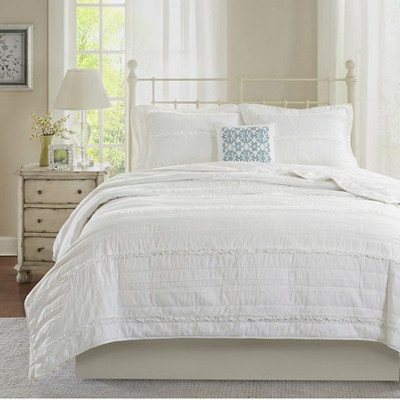 4 piece alexis ruffle quilted country bedding coverlet set