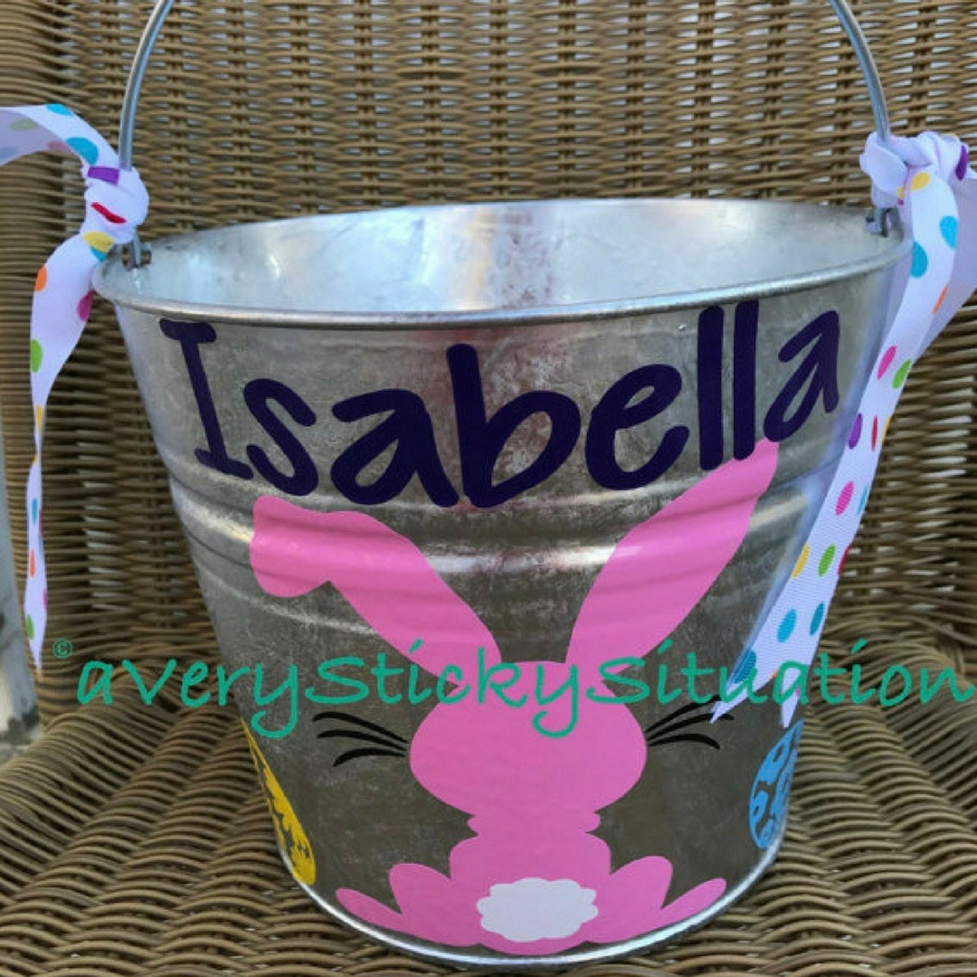 Adorable Boy or Girl Easter baskets for kids Bunny Metal Easter pail Bucket