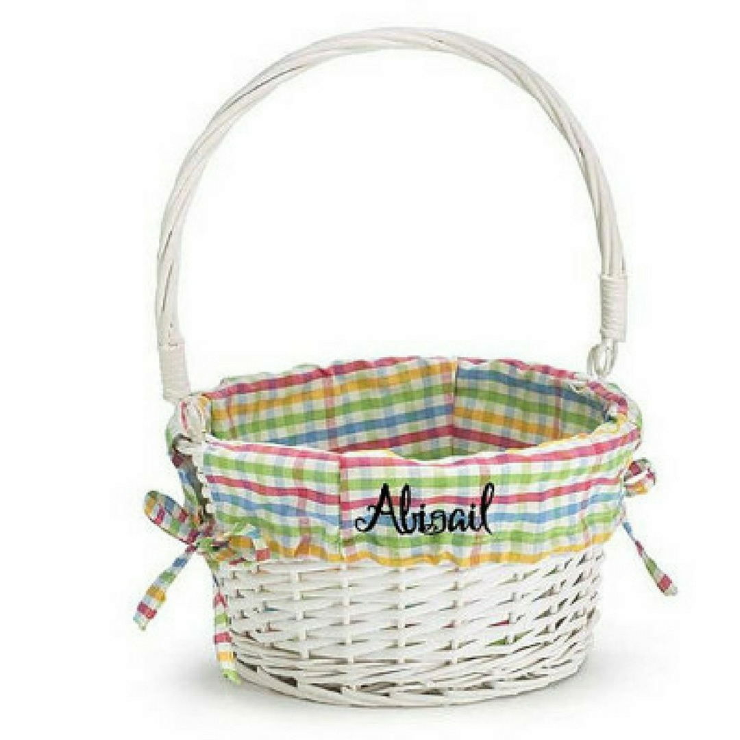 Personalized Easter Baskets for kids White Willow Wicker Basket Monogrammed with childs name