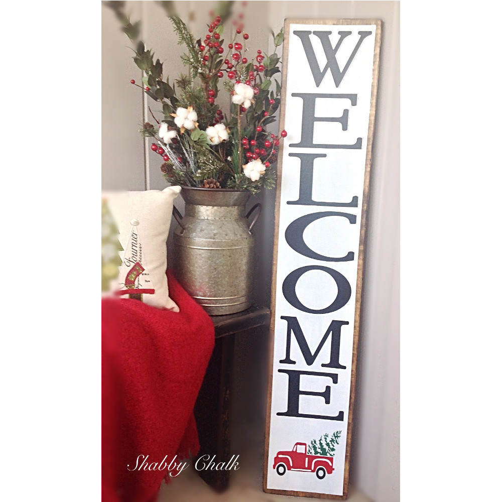 Christmas Welcome Sign with Little Red Truck-The Scoop for Mommies