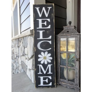 welcome front porch wood sign