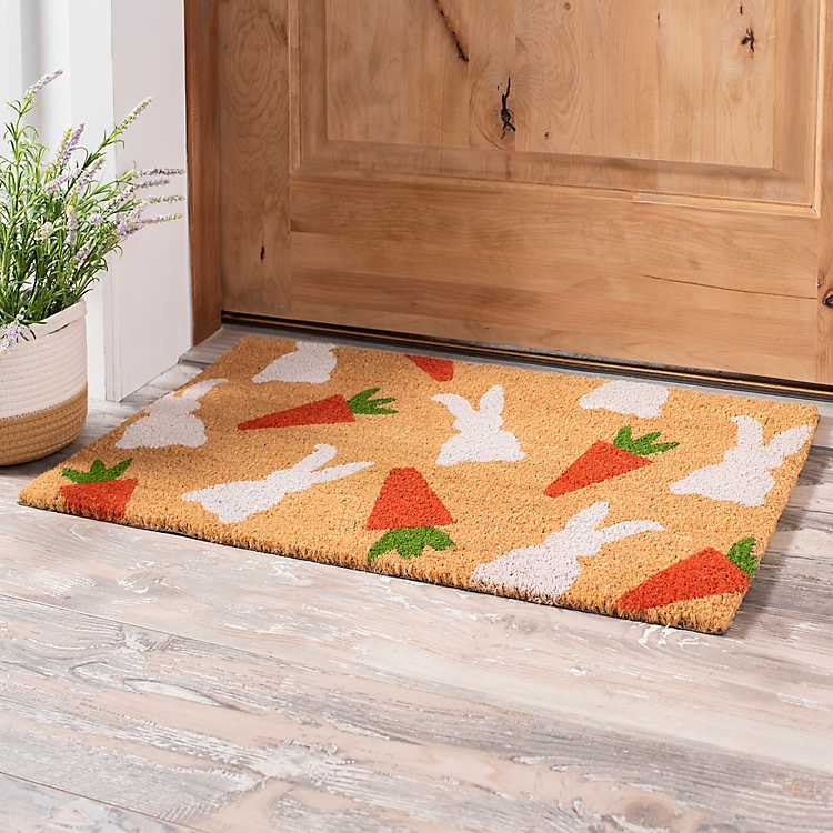 Coir Bunny and Carrots Easter Welcome Mat