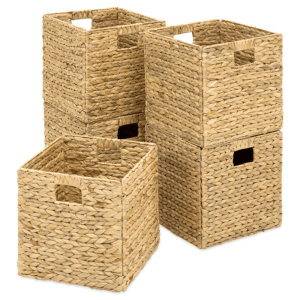 Kids Playroom Ideas and Decor-The Scoop for Mommies-Set of 5 Foldable Hyacinth Storage Baskets