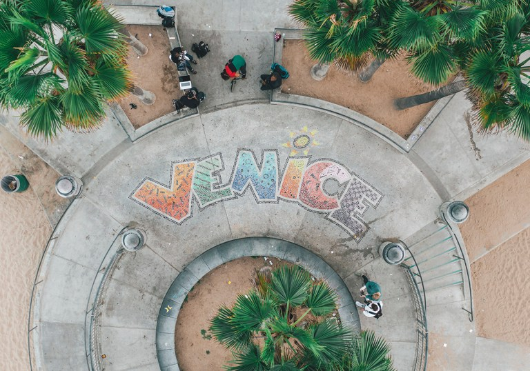 aerial overhead view of venice beach skatepark sig JFECQM7 768x538