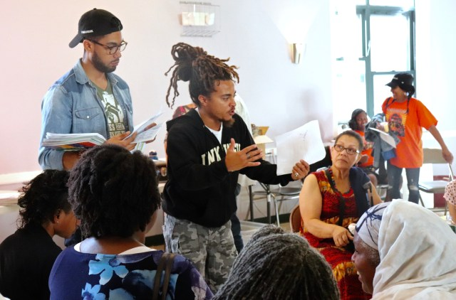 Activist Armani White spoke to the Boston People's Plan Assembly, Sat. 22 in Field's Corner. Photo by Eileen O'Grady.