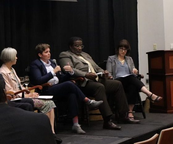 Northeastern professor Ted Landsmark (left) moderates a panel discussion with Gordana Rabrenovic, Amanda Hainsworth, Robert Jose and Elizabeth Bucar. Photo by Eileen O'Grady.