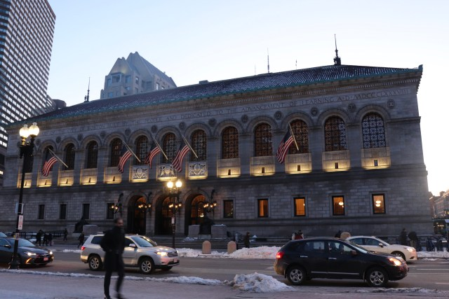 Boston Public Library permits card-holders to borrow portable wifi hotspots for up to three weeks. Photo by Eileen O'Grady.