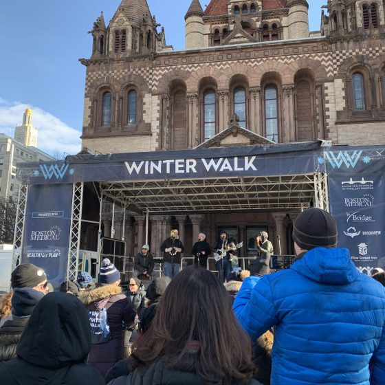 The main stage in Copley Square, where prayers were said, stories shared and hot coffee fueled the Winter Walk. Photo by Maria Aguirre.