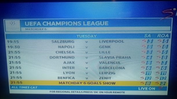 19/20 UEFA Champions League Matchday 6 Fixtures for Tuesday