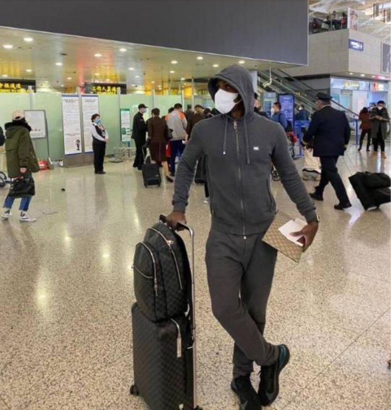 Coronavirus: Odion Ighalo put on protective face mask as he depart China to Manchester