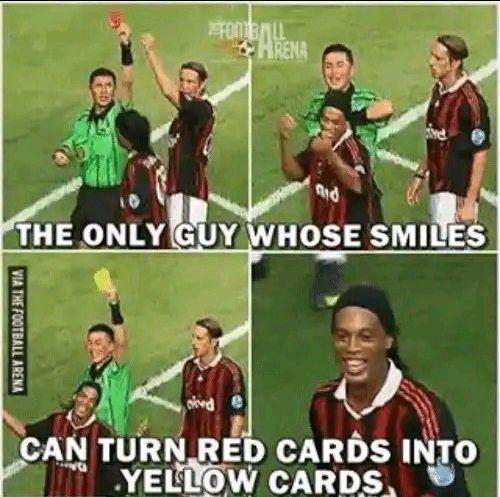 Former Brazilian Footballer, Ronaldinho Is The Only Player Who Overturned A Red Card Into Yellow Card