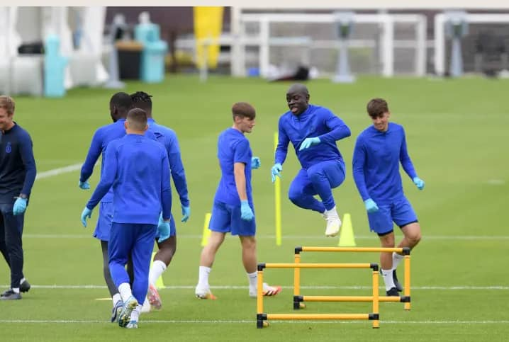 N'Golo Kante joins his teammates in training at Cobham