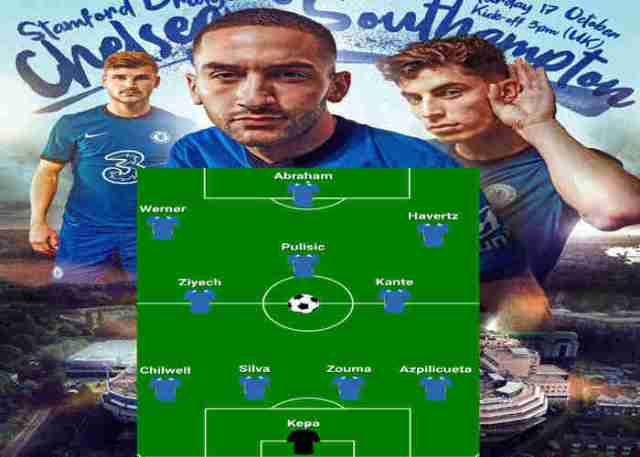 Ziyech, Harvetz, Werner top Chelsea Lineup vs Southampton and Where to Watch Live