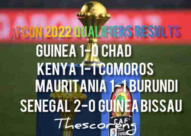 AFCON 2022 Qualifiers Results for Wednesday