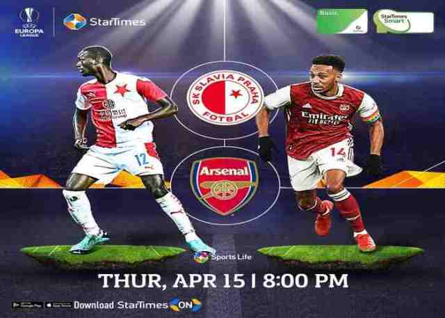 Watch Slavia Prague vs Arsenal Live Stream On StarTimes