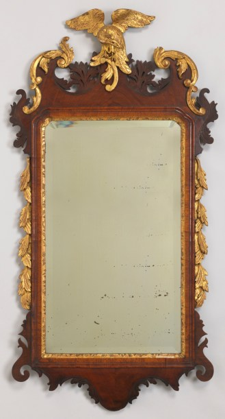 Mirror. Northern Italy, ca. 1755. Carved mahogany and veneered mahogany, carved, gessoed and gilt pine; mirrored silvered glass. H x W x D: 103 x 53.5 x 9.5 cm (40 9/16 x 21 1/16 x 3 3/4 in.). Gift of Neil Sellin, 1967-87-6-a,b.