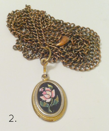 Brass rose pendant necklace. I put it together from a vintage pendant and chain.