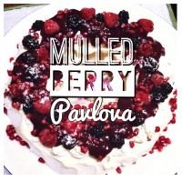Mulled berry pavlova wreath