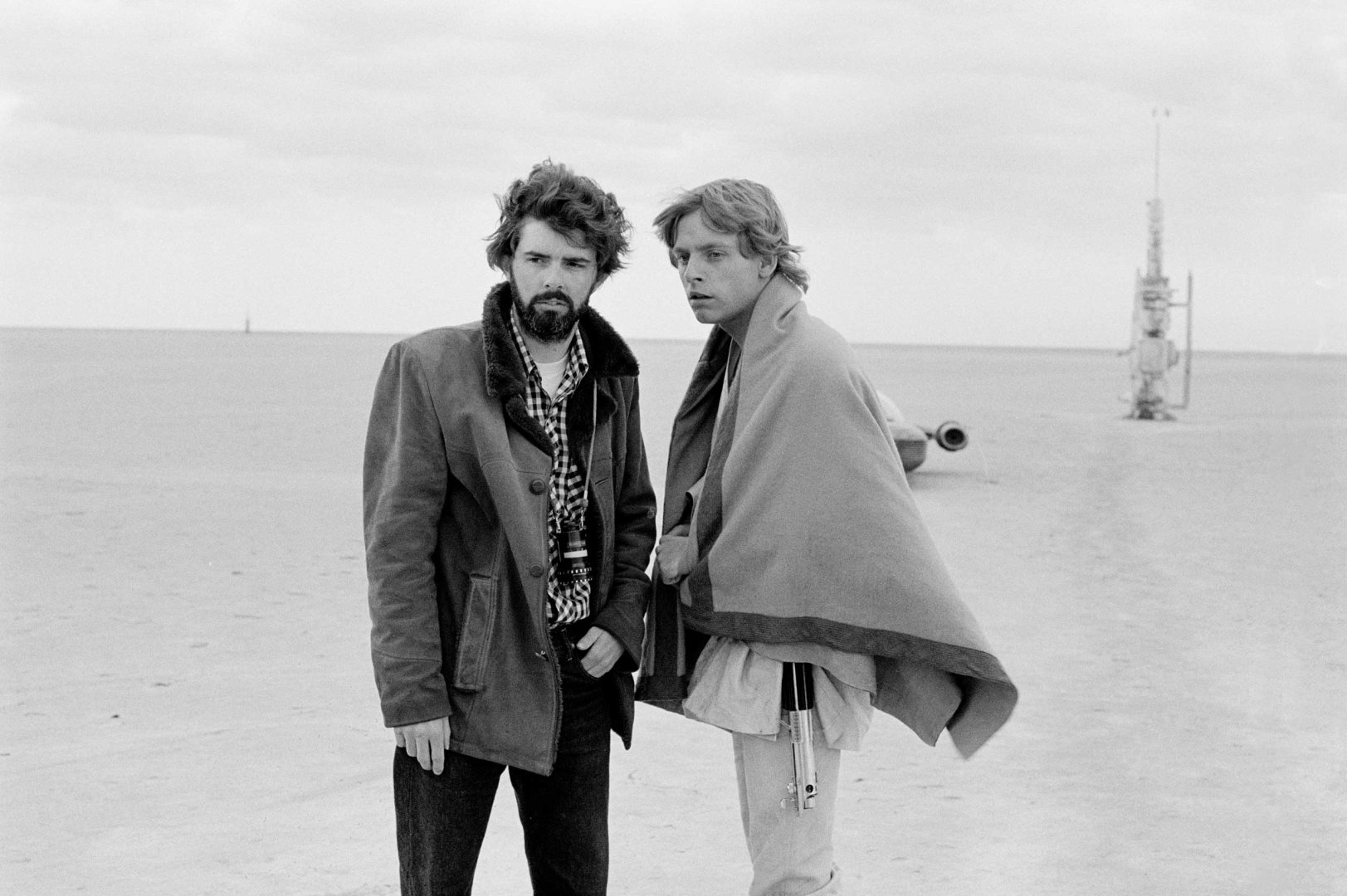 "George Lucas and Mark Hammill on the set of Star Wars - Best ""Making Of"" Books Ever: EASY RIDERS, RAGING BULLS"